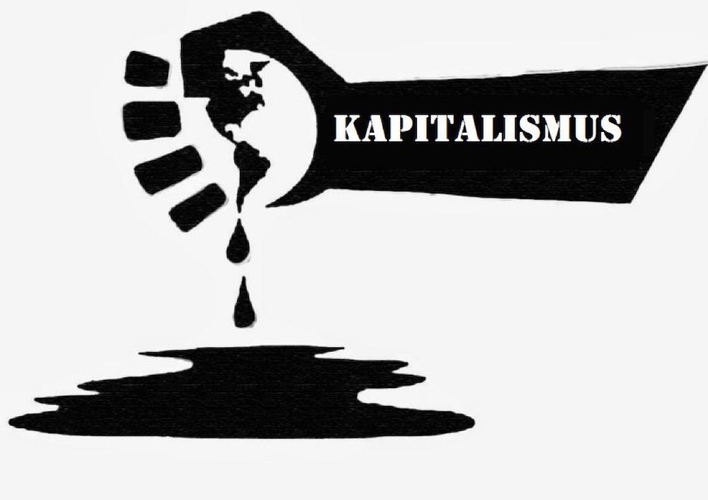 Graffiti Kapitallismus-Hand quetscht Erde aus